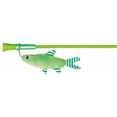 Canne à pêche poisson, en plast, /peluche, catnip - 42 cm