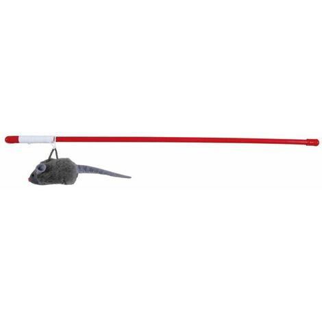 Canne à pêche souris couinante, en plast./peluche - 47 cm