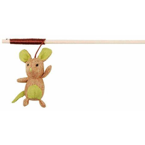 Canne à pêche souris, en bois/tissu, catnip - 40 cm