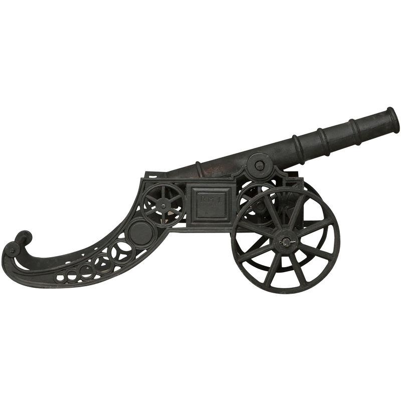 Biscottini - Cannon de décoration en fonte finition blanche veillie L150xPR39 xH65 cm