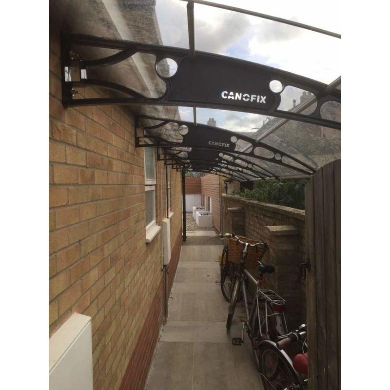 CANOFIX Door Canopy PC 2500W x 1000P Grey Bracket - Clear Sheet DIY Polycarbonate Cantilever Awning//Window Door Pathway Walkway Garden Shed Porch Patio