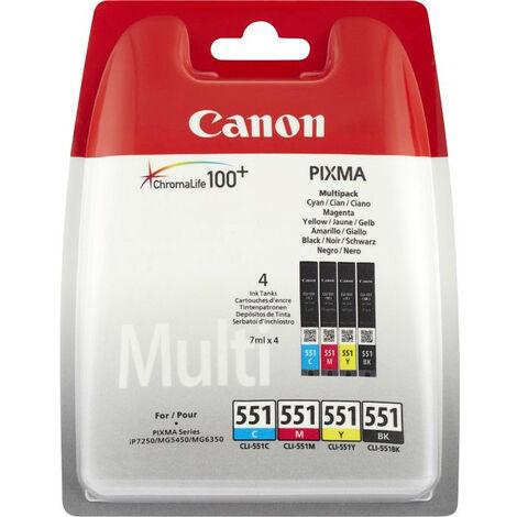 Canon CLI-551 C/M/Y/BK - Original - Encre à pigments - Noir - Cyan - Jaune - Magenta - Canon Pixma iP7250/iP8750 - Pixma MX925 - Pixma... 4 pièce(s) - Impression à jet d'encre (6508B005)