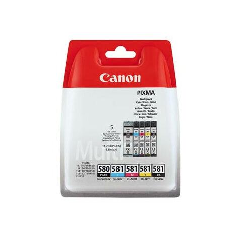 Canon PGI-580/CLI-581 - Original - Encre à pigments - Noir - Cyan - Magenta - Jaune - Canon - Pixma TS6150 - TS6151 - TS8150 - TS8151 - TS9150 - TS9155 - TR7550 - TR8550 - 11,2 ml (2078C005)
