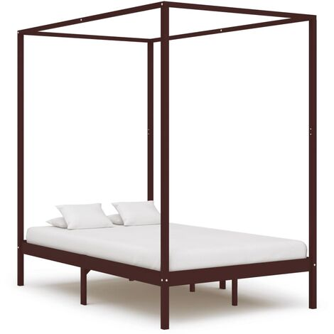 Canopy Bed Frame Dark Brown Solid Pine Wood 120x200 cm