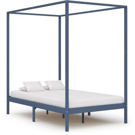 Canopy Bed Frame Grey Solid Pine Wood 140x200 cm