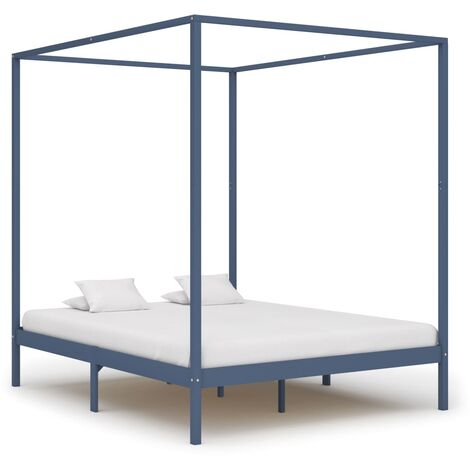 Canopy Bed Frame Grey Solid Pine Wood 160x200 cm