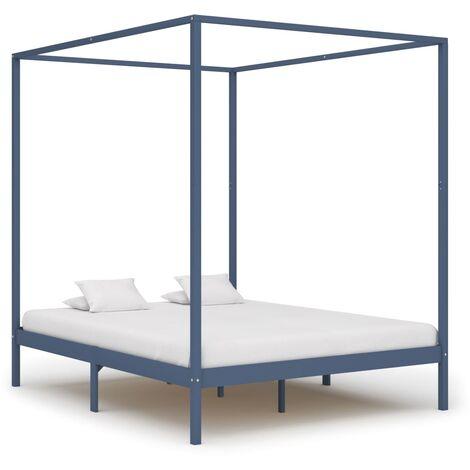 Canopy Bed Frame Grey Solid Pine Wood 6FT Super King