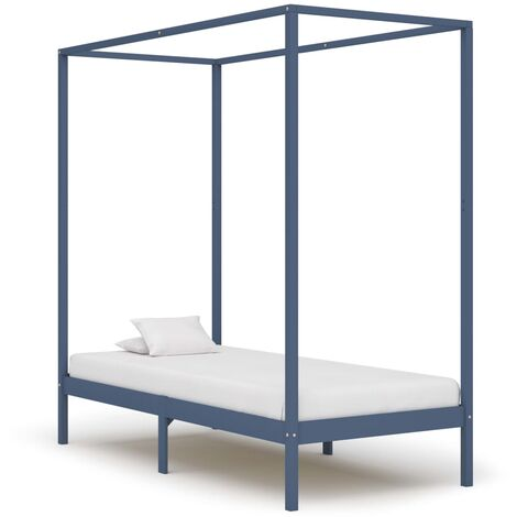 Canopy Bed Frame Grey Solid Pine Wood 90x200 cm