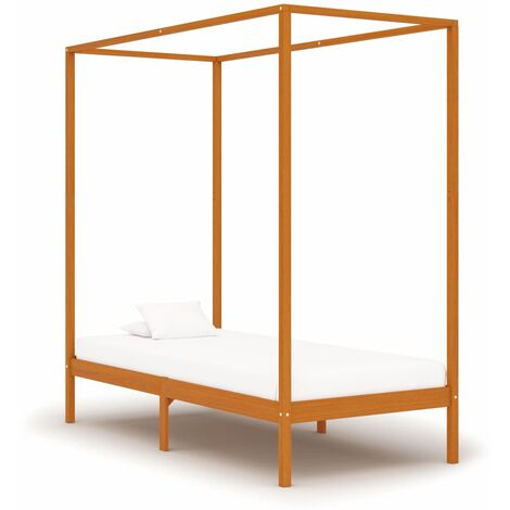 Canopy Bed Frame Honey Brown Solid Pine Wood 100x200 cm