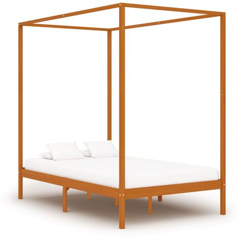 Canopy Bed Frame Honey Brown Solid Pine Wood 140x200 cm