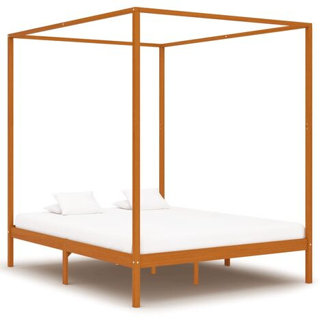 Canopy Bed Frame Honey Brown Solid Pine Wood 160x200 cm