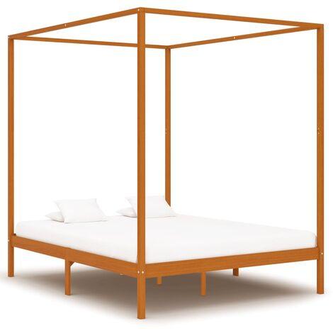 Canopy Bed Frame Honey Brown Solid Pine Wood 6FT Super King