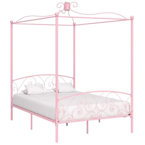 Canopy Bed Frame Pink Metal 120x200 cm