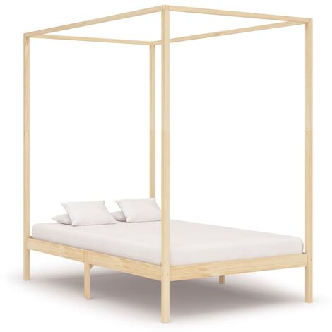 Canopy Bed Frame Solid Pine Wood 140x200 cm