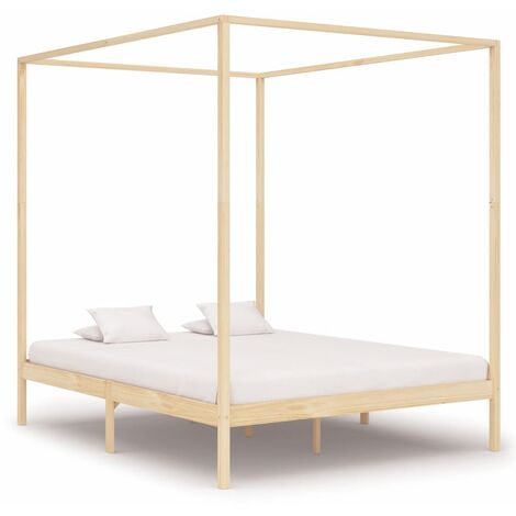 Canopy Bed Frame Solid Pine Wood 160x200 cm