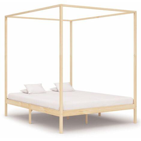 Canopy Bed Frame Solid Pine Wood 6FT Super King