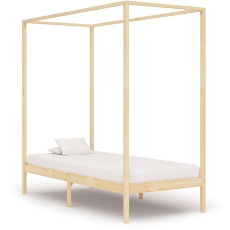 Canopy Bed Frame Solid Pine Wood 90x200 cm
