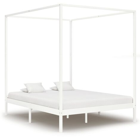 Canopy Bed Frame White Solid Pine Wood 160x200 cm