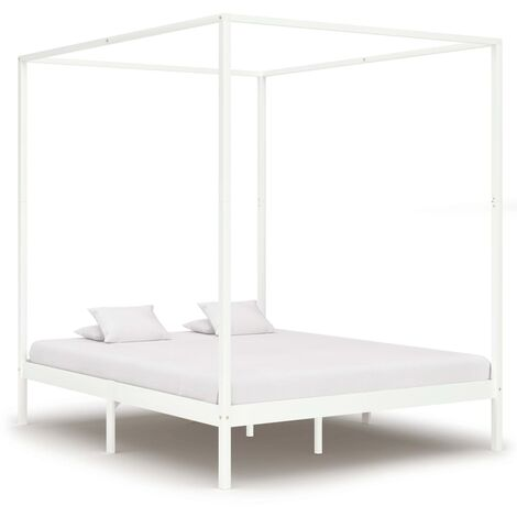 Canopy Bed Frame White Solid Pine Wood 6FT Super King