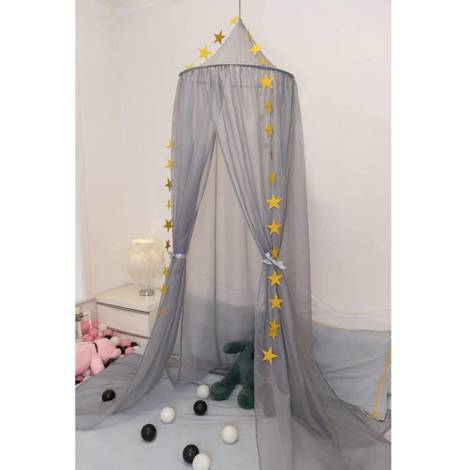 Canopy canopy mosquito net made of voile star Deco 230 cm gray