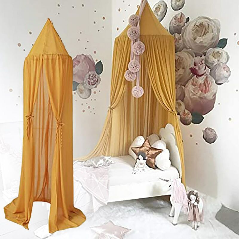 Canopy Mosquito Net Bed Canopy Baby Canopy Chiffon Insect Net Decoration Mosquito Net for Cot-Pink yellow bedroom Baby Hanging