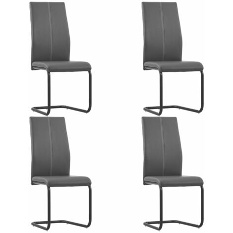 Cantilever Dining Chairs 4 pcs Grey Faux Leather