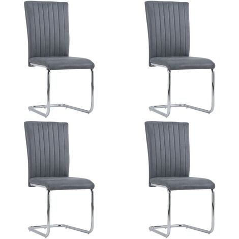 Cantilever Dining Chairs 4 pcs Grey Faux Suede Leather