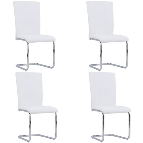 Cantilever Dining Chairs 4 pcs White Faux Leather