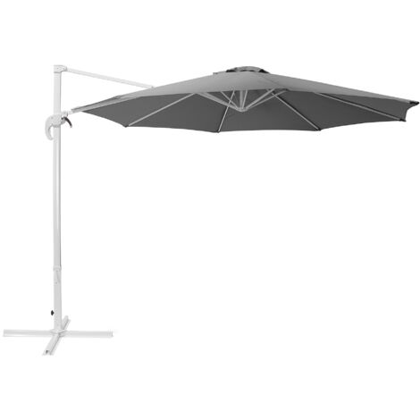 Cantilever Garden Parasol Dark Grey and White SAVONA