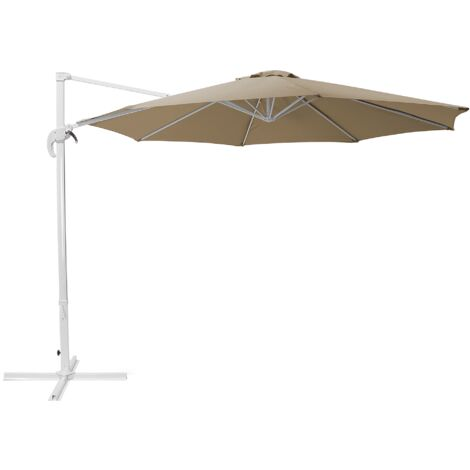 Cantilever Garden Parasol Sand Beige and White Canopy SAVONA