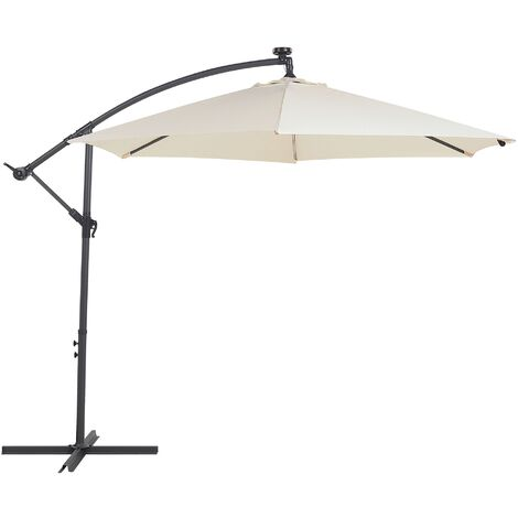 Cantilever Garden Parasol with LED Lights Beige CORVAL