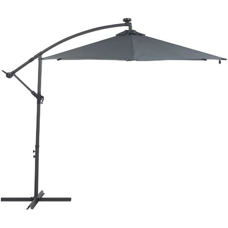Cantilever Garden Parasol with LED Lights Grey CORVAL