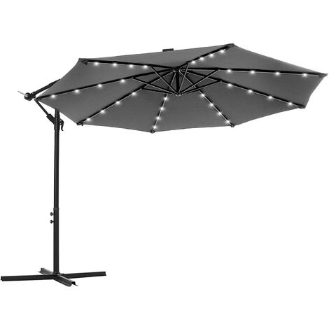 Cantilever Garden Patio Parasol with Solar-Powered LED Lights, 3 m Offset Parasol with Base, UPF 50+ Banana Hanging Umbrella, Crank for Opening Closing, Taupe GPU018K01 - Taupe