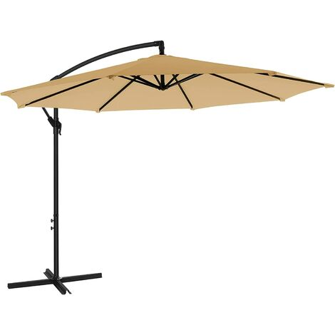 Cantilever Garden Patio Umbrella with Base, 3 m Offset Parasol, Banana Hanging Umbrella, Sunshade with Protection UPF 50+, Crank for Opening Closing, Beige GPU016M01 - Beige