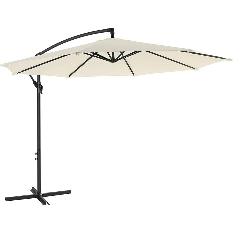 Songmics - Cantilever Garden Patio Umbrella with Base, 3 m Offset Parasol, Banana Hanging Umbrella, Sunshade with Protection UPF 50+, Crank for