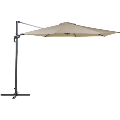 Cantilever Patio Umbrella - ø 291 cm - Crank - Metal - Mocha - SAVONA