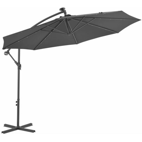 Cantilever Umbrella LED Lights and Steel Pole 300cm Anthracite - Anthracite