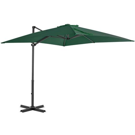 Cantilever Umbrella with Aluminium Pole Green 250x250 cm