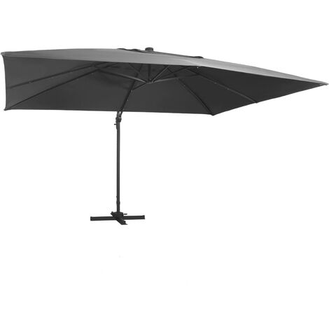 Cantilever Umbrella with LED Lights and Aluminium Pole 400x300 cm Anthracite