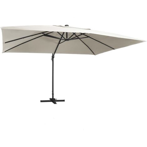 Cantilever Umbrella with LED Lights and Aluminium Pole 400x300 cm Sand