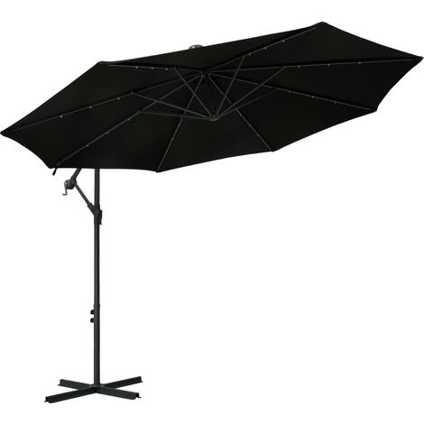 Cantilever Umbrella with LED Lights and Steel Pole 300 cm Black