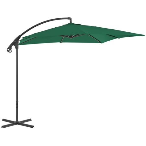 Cantilever Umbrella with Steel Pole 250x250 cm Green