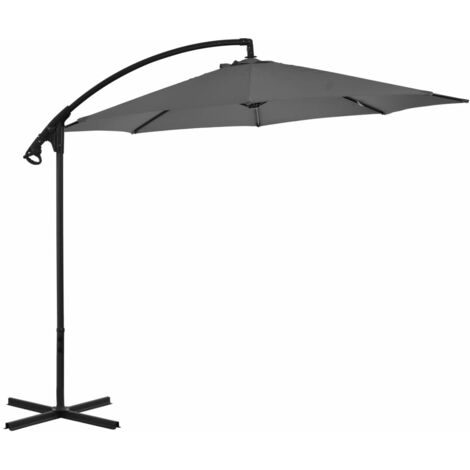 Cantilever Umbrella with Steel Pole 300 cm Anthracite
