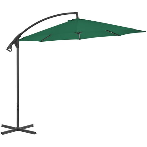 Cantilever Umbrella with Steel Pole 300 cm Green
