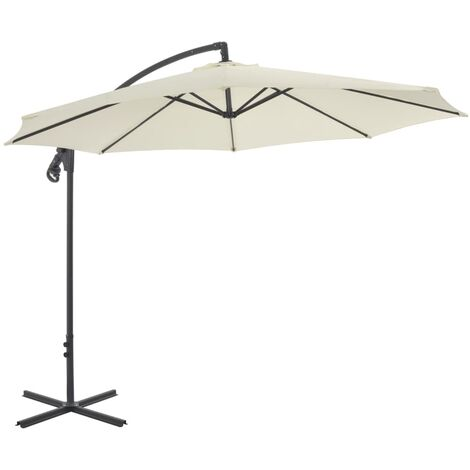 Cantilever Umbrella with Steel Pole 300 cm Sand