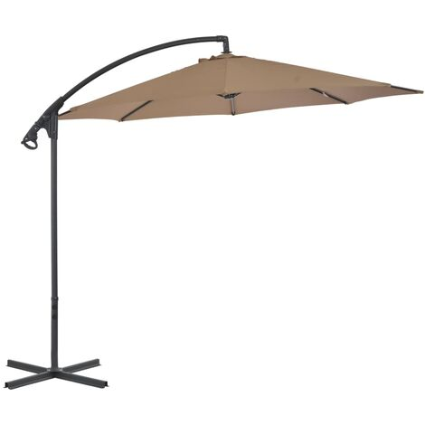 Cantilever Umbrella with Steel Pole 300 cm Taupe
