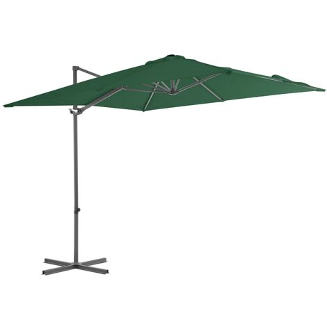 Cantilever Umbrella with Steel Pole Green 250x250 cm