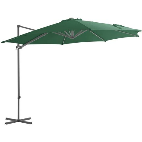 Cantilever Umbrella with Steel Pole Green 300 cm