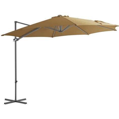 Cantilever Umbrella with Steel Pole Taupe 300 cm