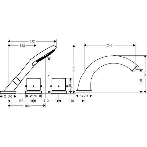 Canto de teja de 4 agujeros Hansgrohe Axor Starck con termostato y Zerogriffe, color: cromado - 10466000
